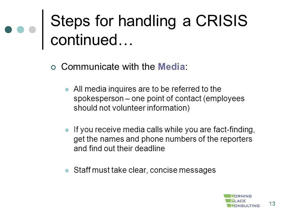Steps for handling a CRISIS continued…