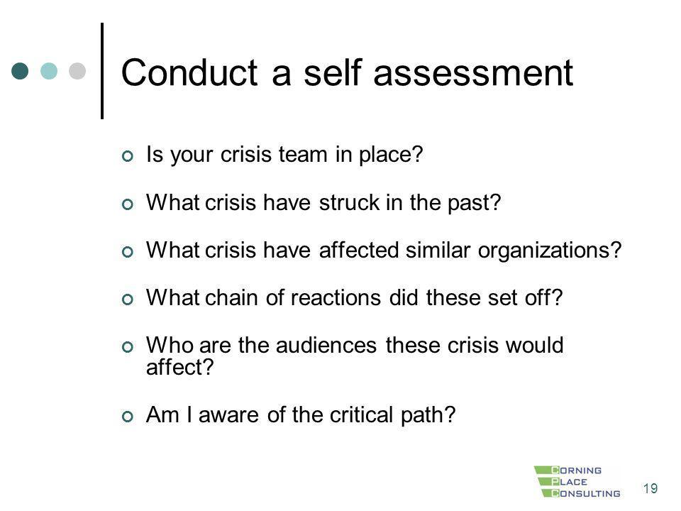 Conduct a self assessment