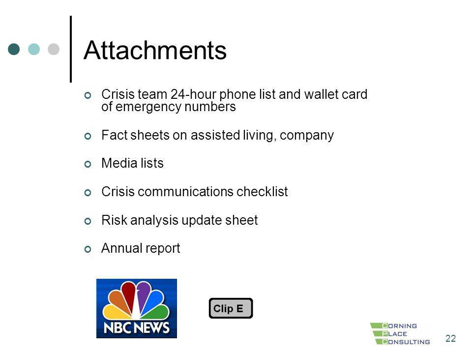 Attachments Crisis team 24-hour phone list and wallet card of emergency numbers. Fact sheets on assisted living, company.