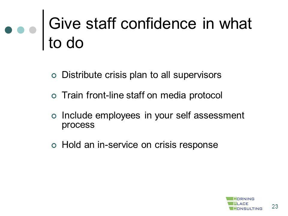 Give staff confidence in what to do