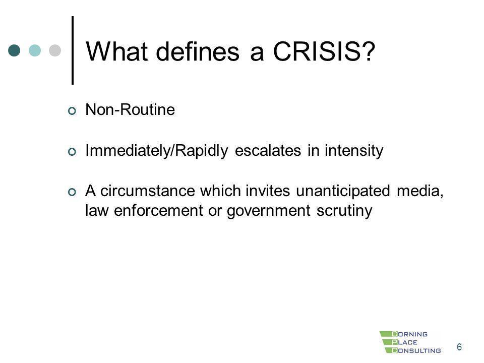 What defines a CRISIS Non-Routine