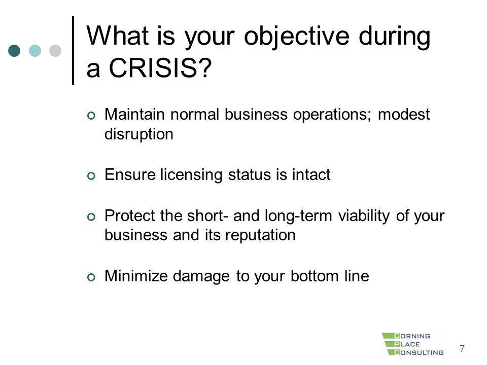 What is your objective during a CRISIS