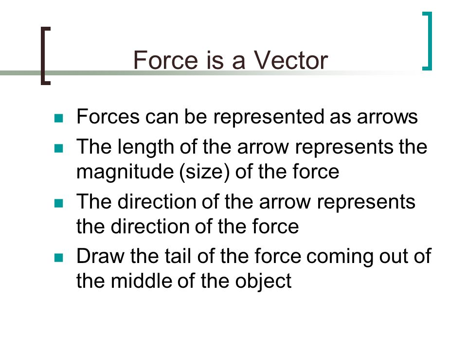 Force is a Vector Forces can be represented as arrows