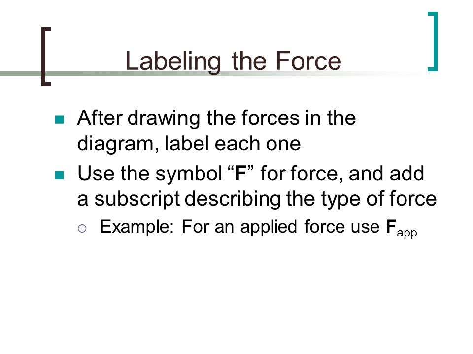 Labeling the Force After drawing the forces in the diagram, label each one.