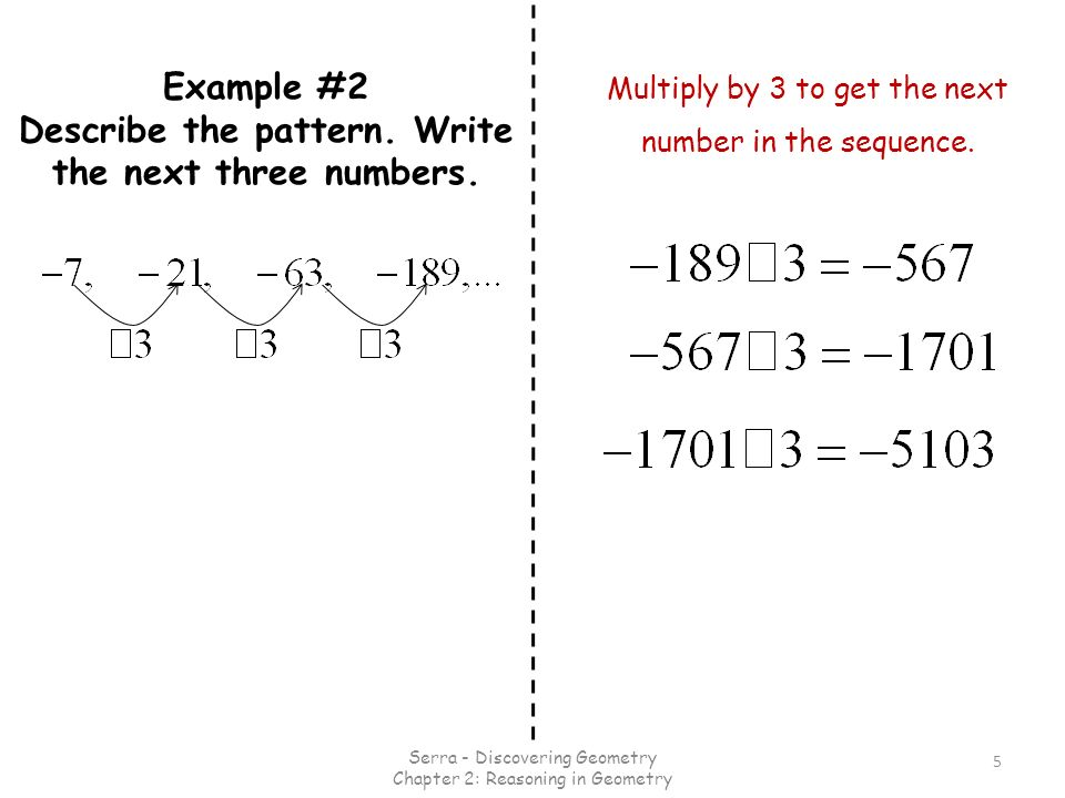 Example #2 Describe the pattern. Write the next three numbers.