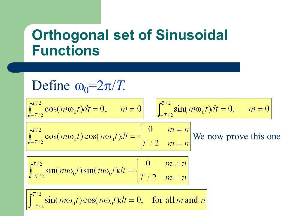 Orthogonal set of Sinusoidal Functions