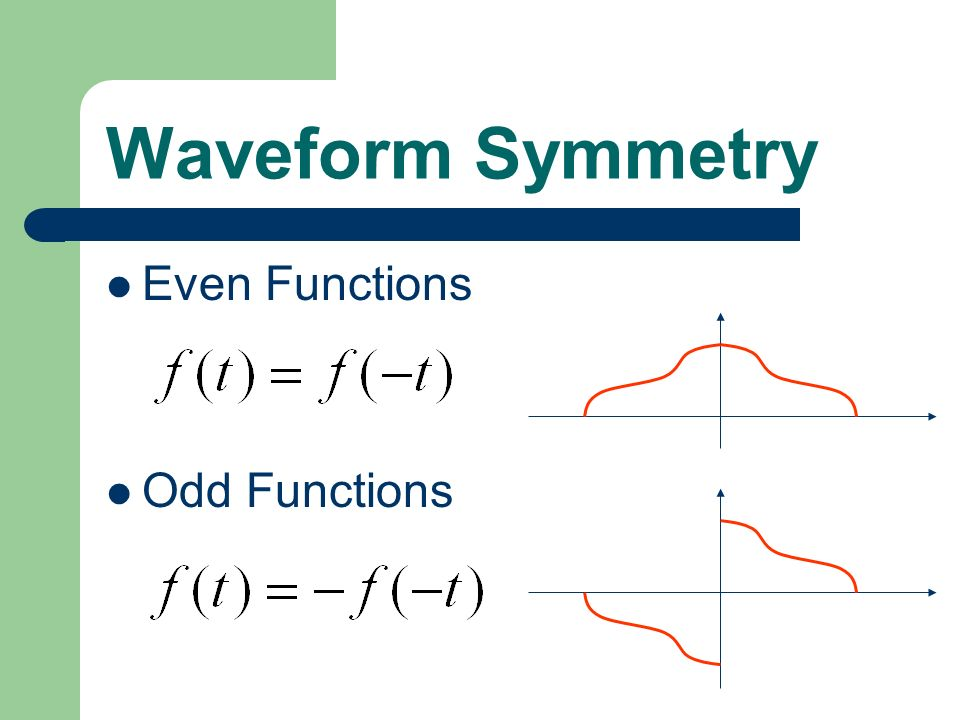 Waveform Symmetry Even Functions Odd Functions