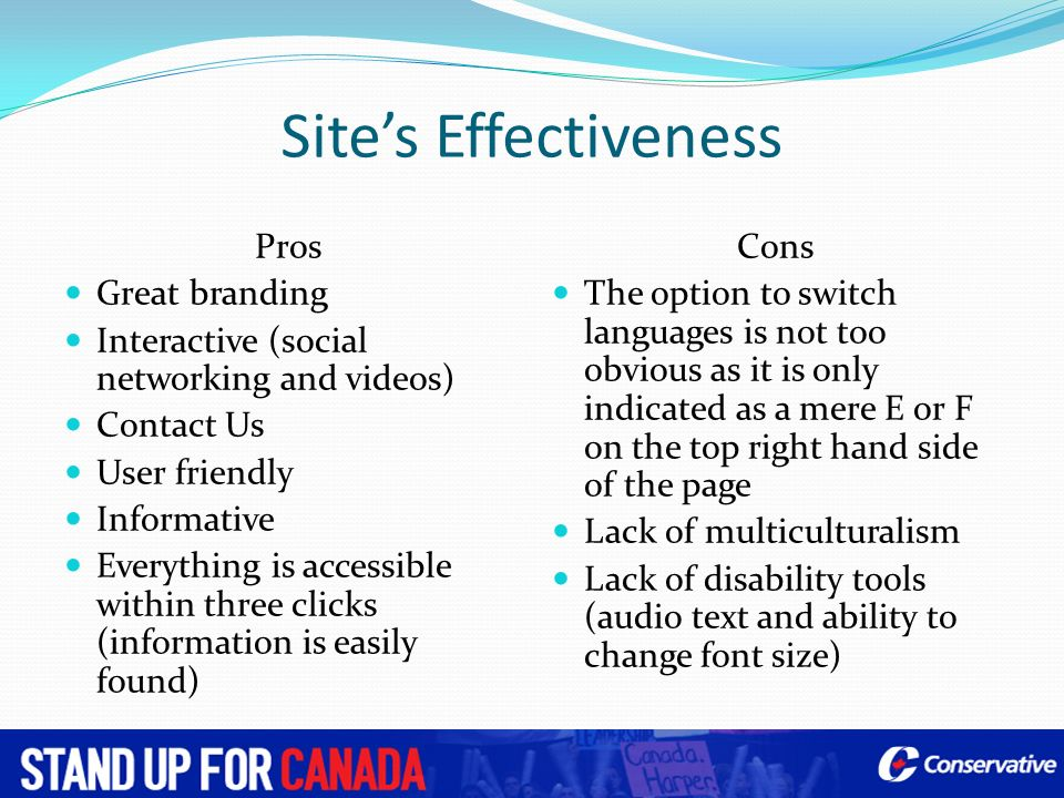Site's Effectiveness Pros Great branding