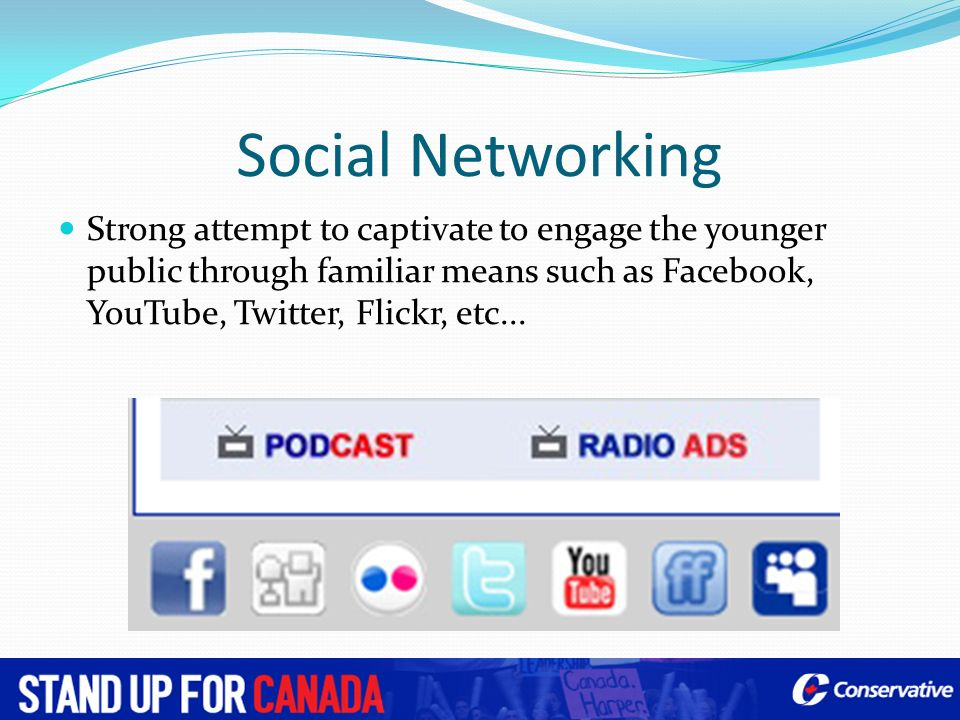 Social Networking Strong attempt to captivate to engage the younger public through familiar means such as Facebook, YouTube, Twitter, Flickr, etc...