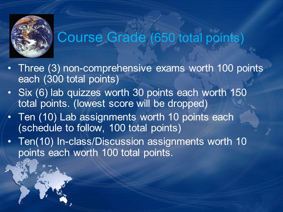 Course Grade (650 total points)