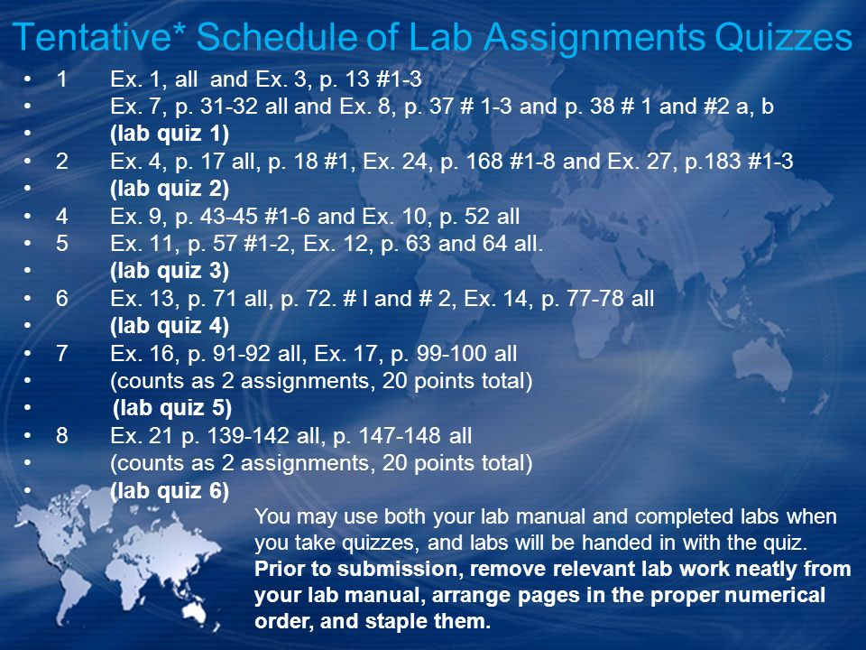 Tentative* Schedule of Lab Assignments Quizzes