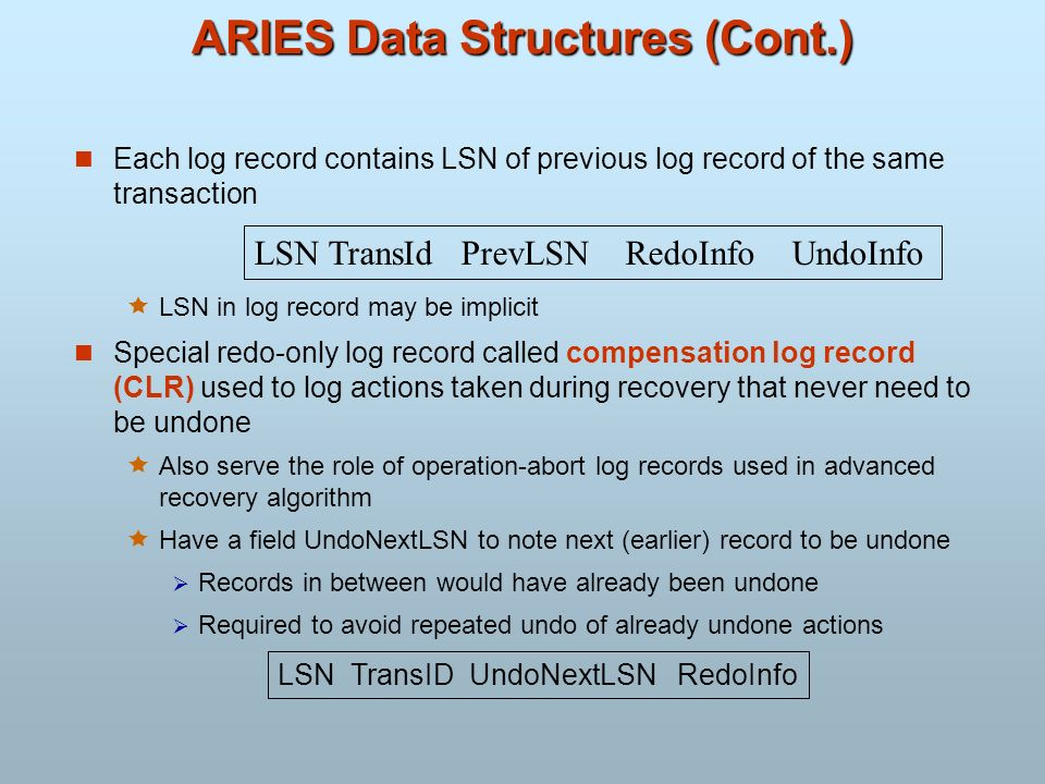 ARIES Data Structures (Cont.)