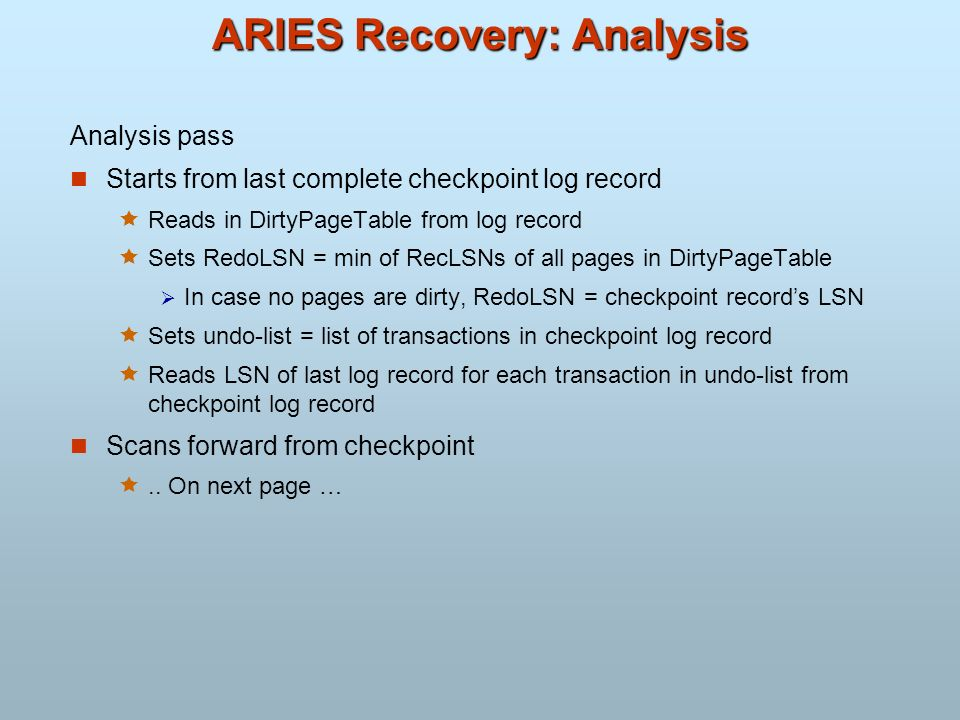 ARIES Recovery: Analysis