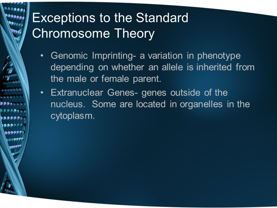 Exceptions to the Standard Chromosome Theory