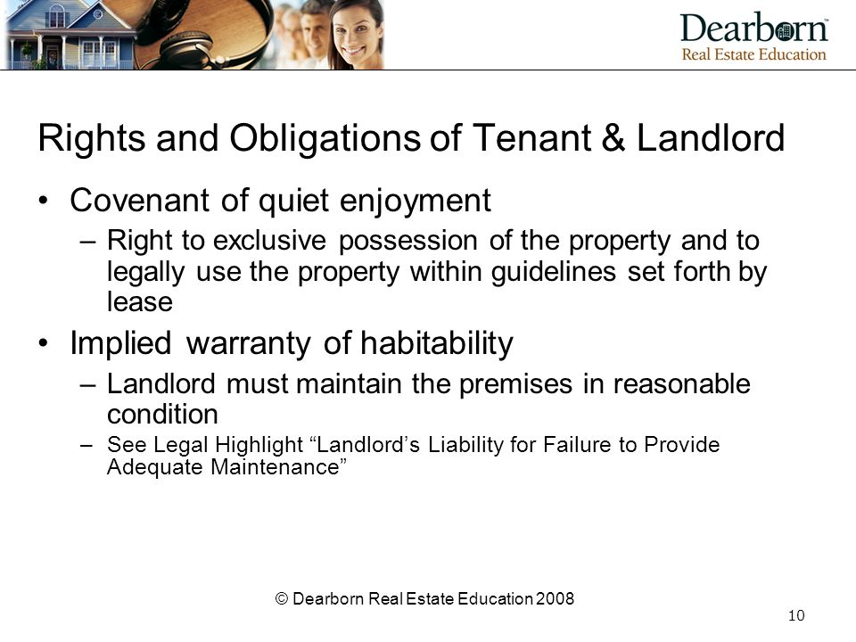 Rights and Obligations of Tenant & Landlord