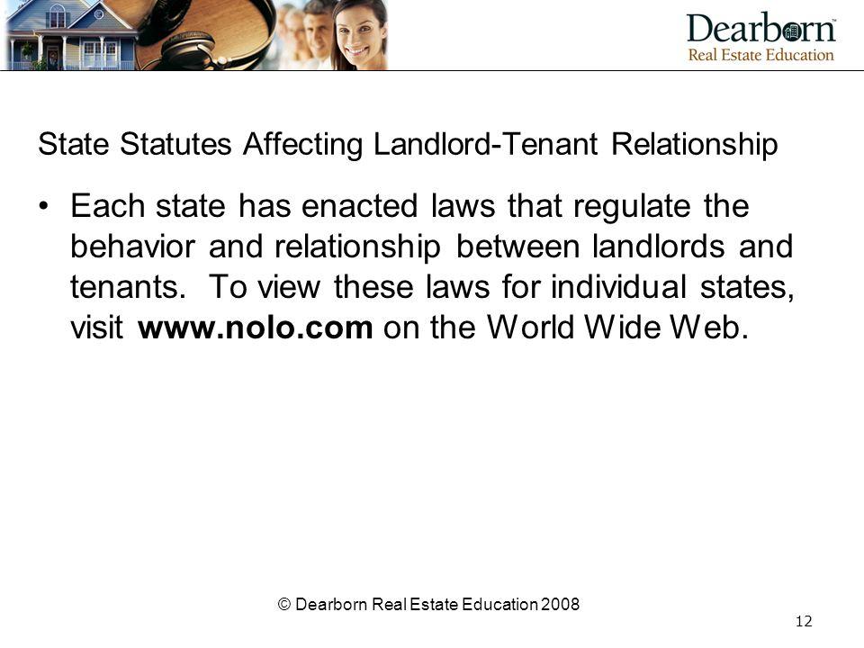 State Statutes Affecting Landlord-Tenant Relationship