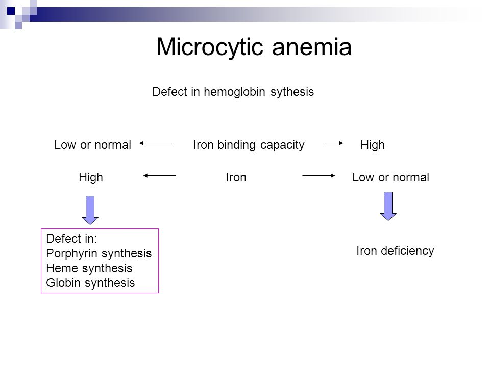 Microcytic anemia Defect in hemoglobin sythesis Low or normal