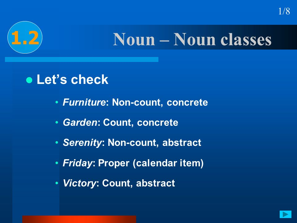 1.2 Noun – Noun classes Let's check 1/8 Furniture: Non-count, concrete