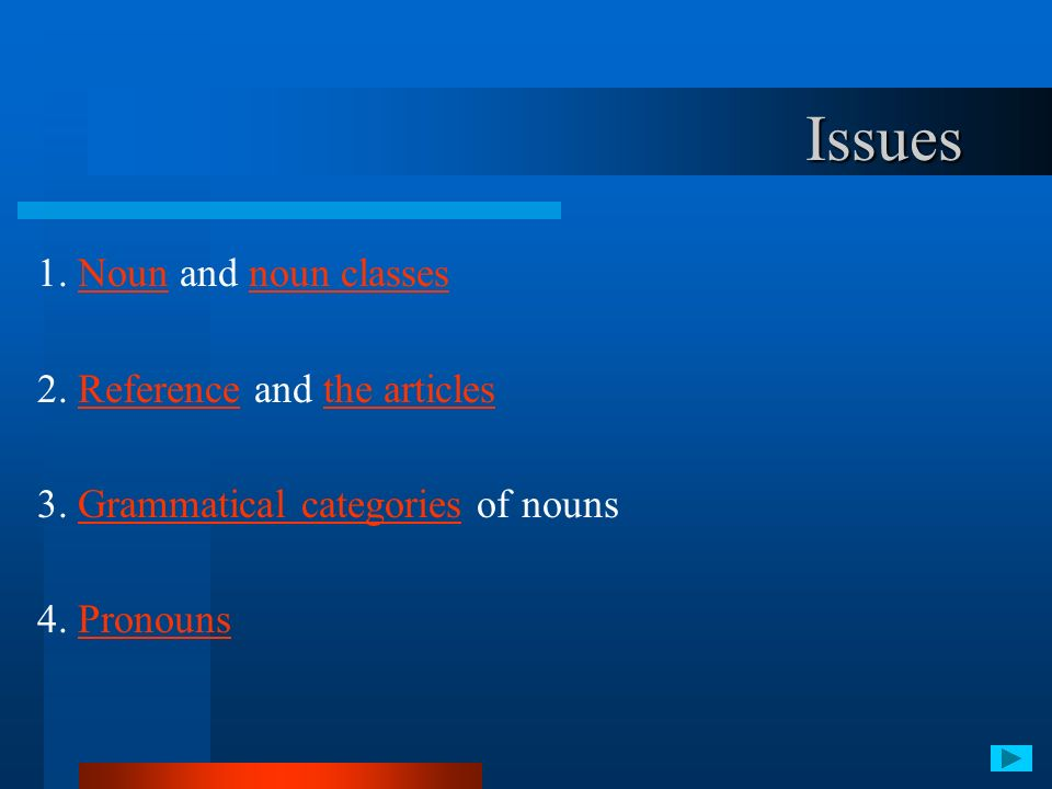 Issues 1. Noun and noun classes 2. Reference and the articles