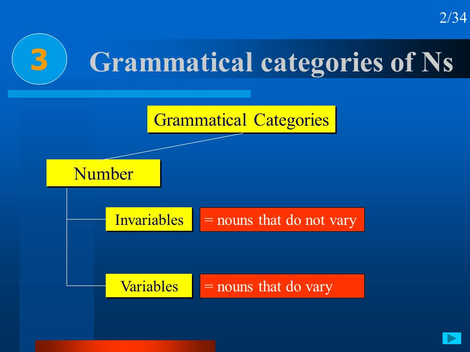 Grammatical categories of Ns