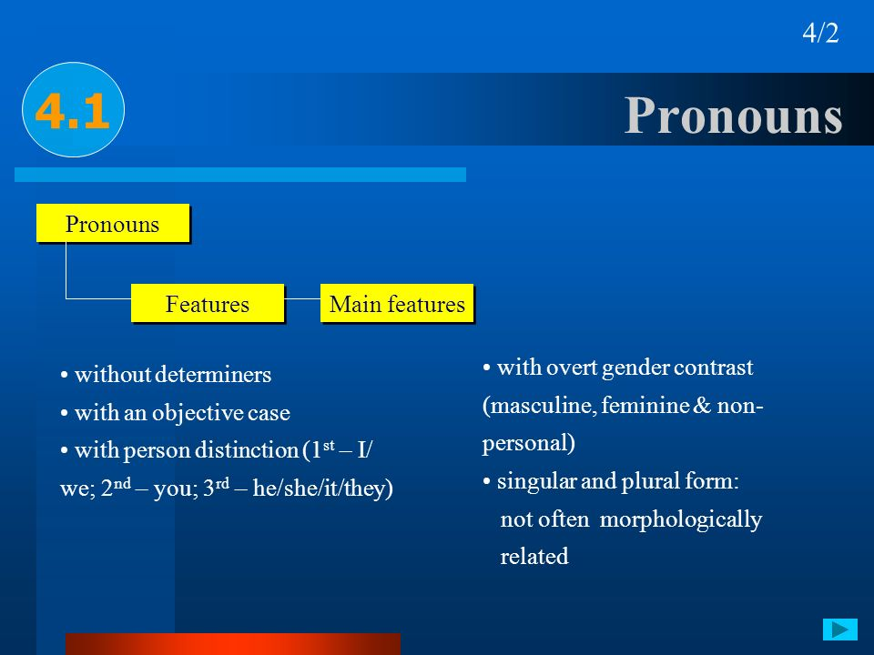 Pronouns 4.1 4/2 Pronouns Features Main features