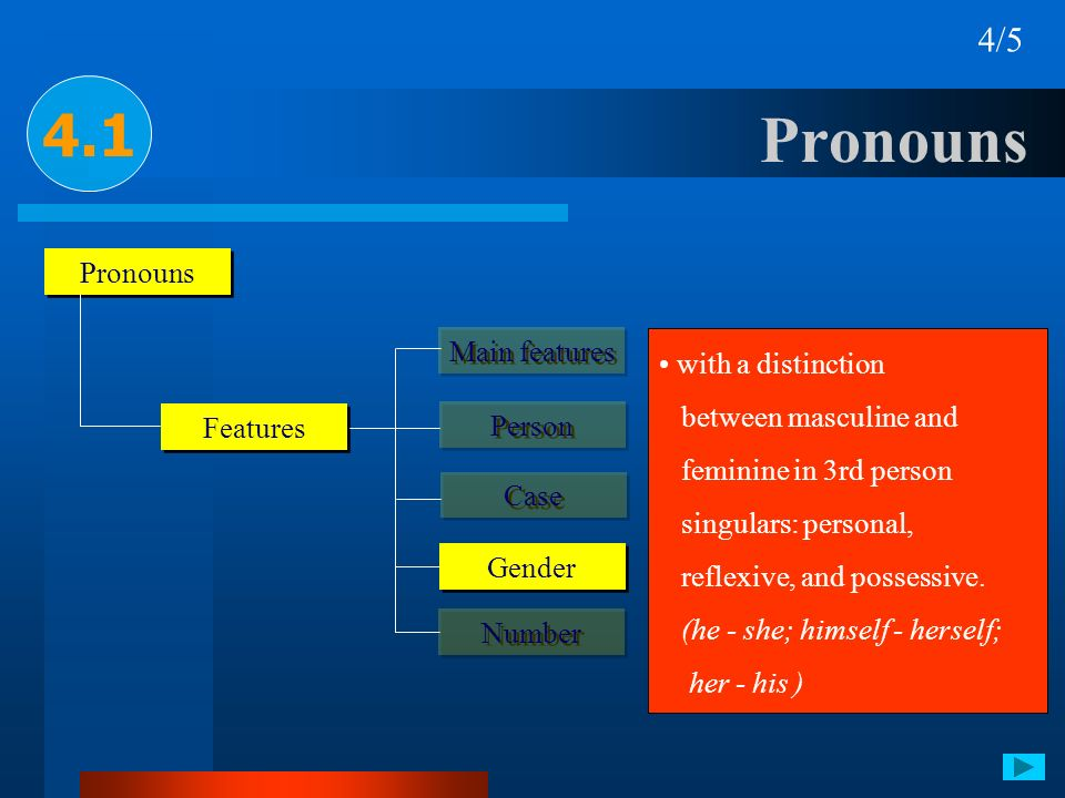 Pronouns 4.1 4/5 Pronouns Main features with a distinction