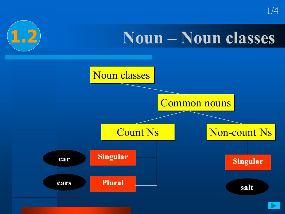 1.2 Noun – Noun classes Noun classes Common nouns Count Ns