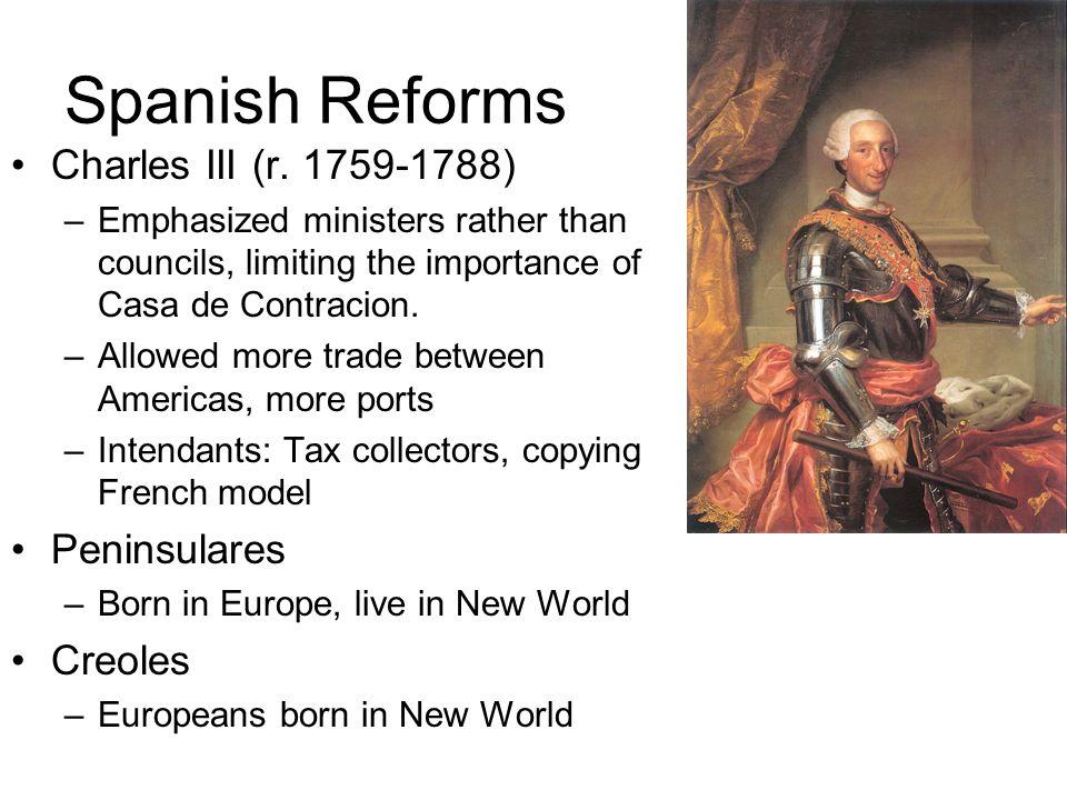 Spanish Reforms Charles III (r. 1759-1788) Peninsulares Creoles