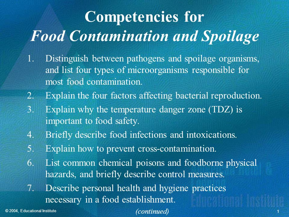 Competencies for Food Contamination and Spoilage