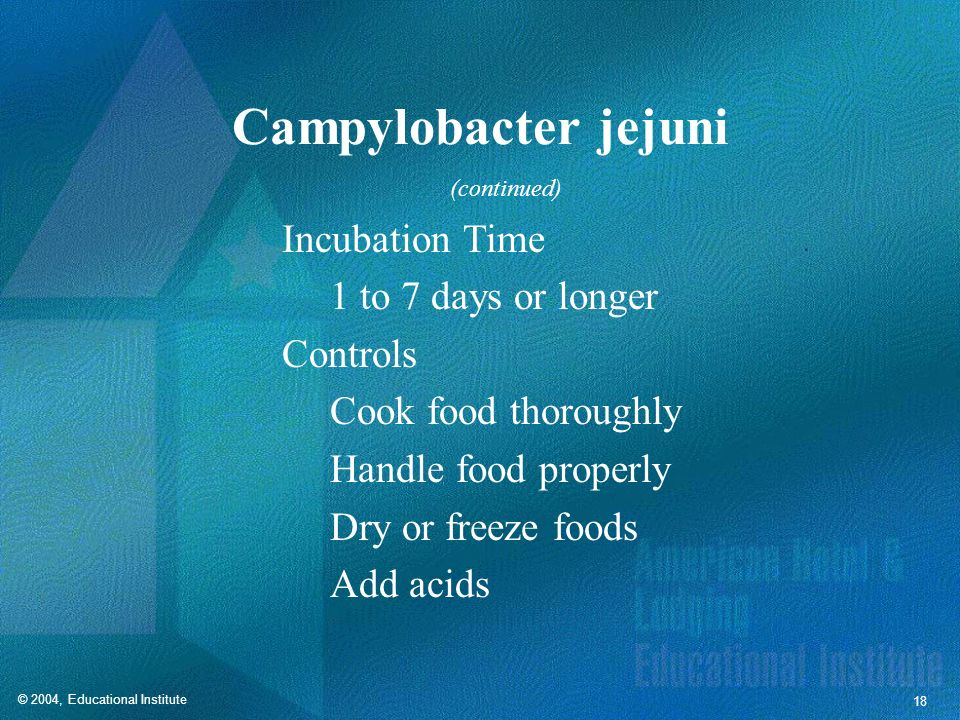 Campylobacter jejuni Incubation Time 1 to 7 days or longer Controls