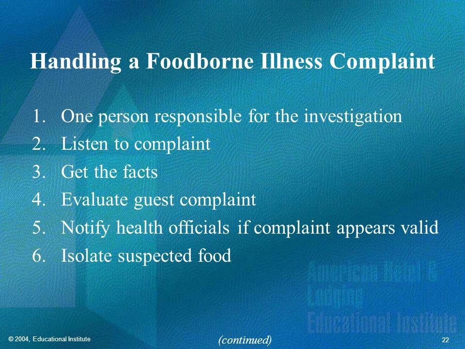 Handling a Foodborne Illness Complaint