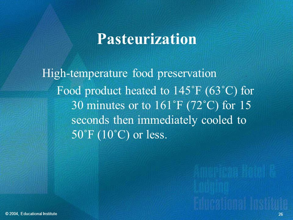 Pasteurization High-temperature food preservation