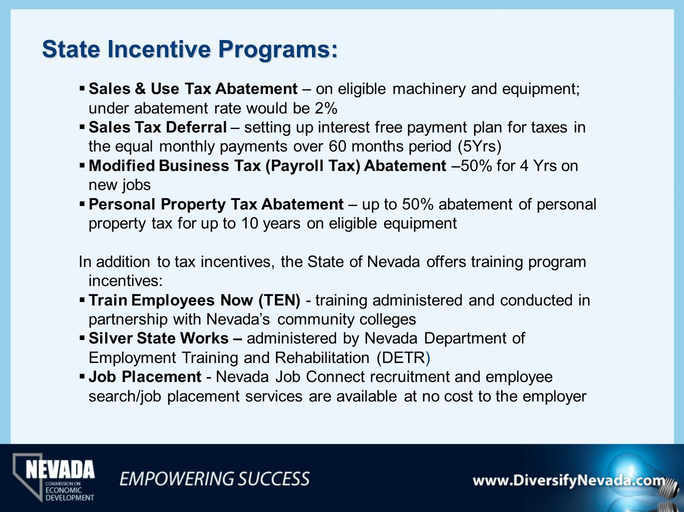 State Incentive Programs:
