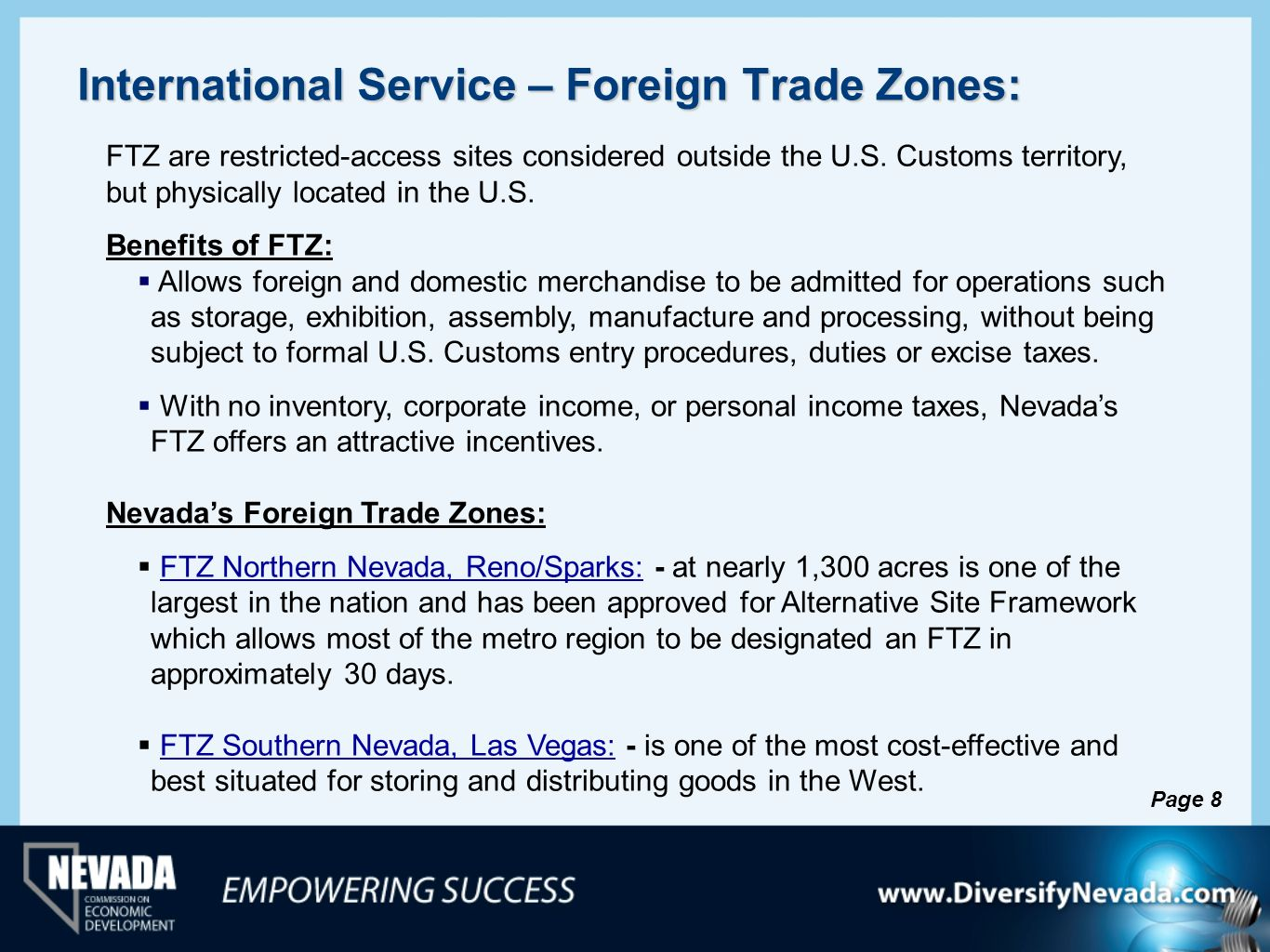 International Service – Foreign Trade Zones:
