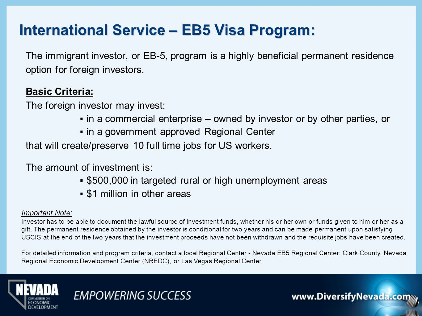 International Service – EB5 Visa Program: