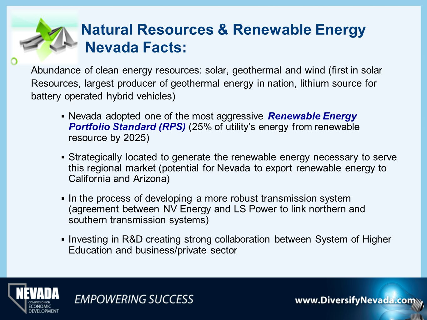 Natural Resources & Renewable Energy Nevada Facts: