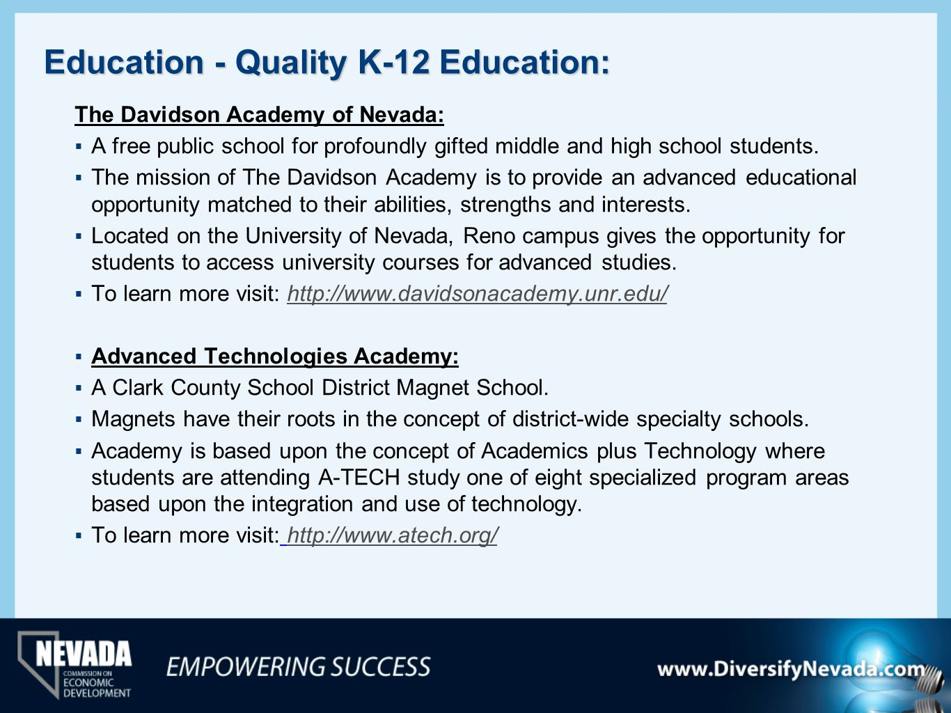 Education - Quality K-12 Education: