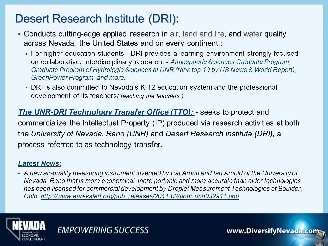 Desert Research Institute (DRI):