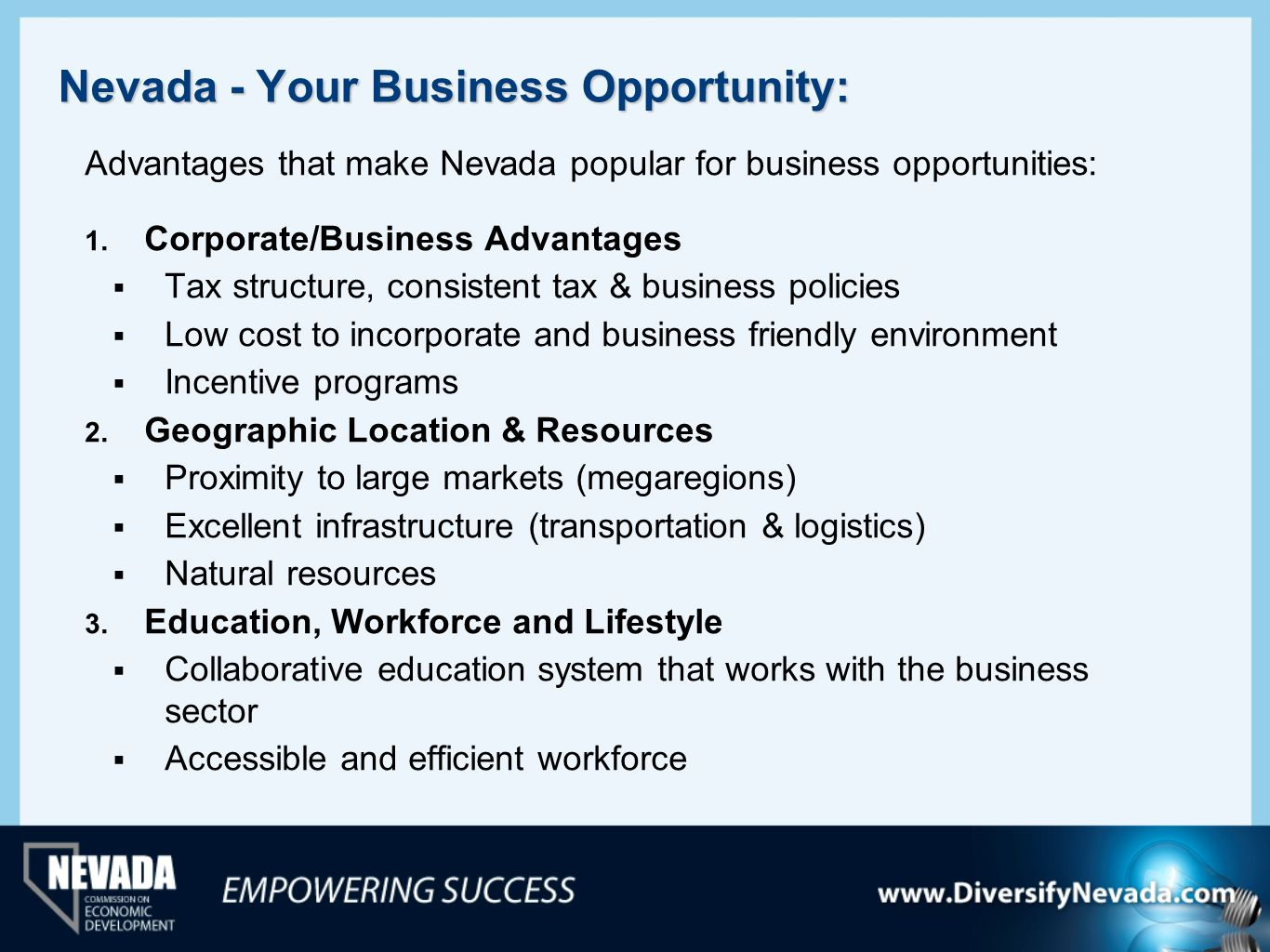 Nevada - Your Business Opportunity: