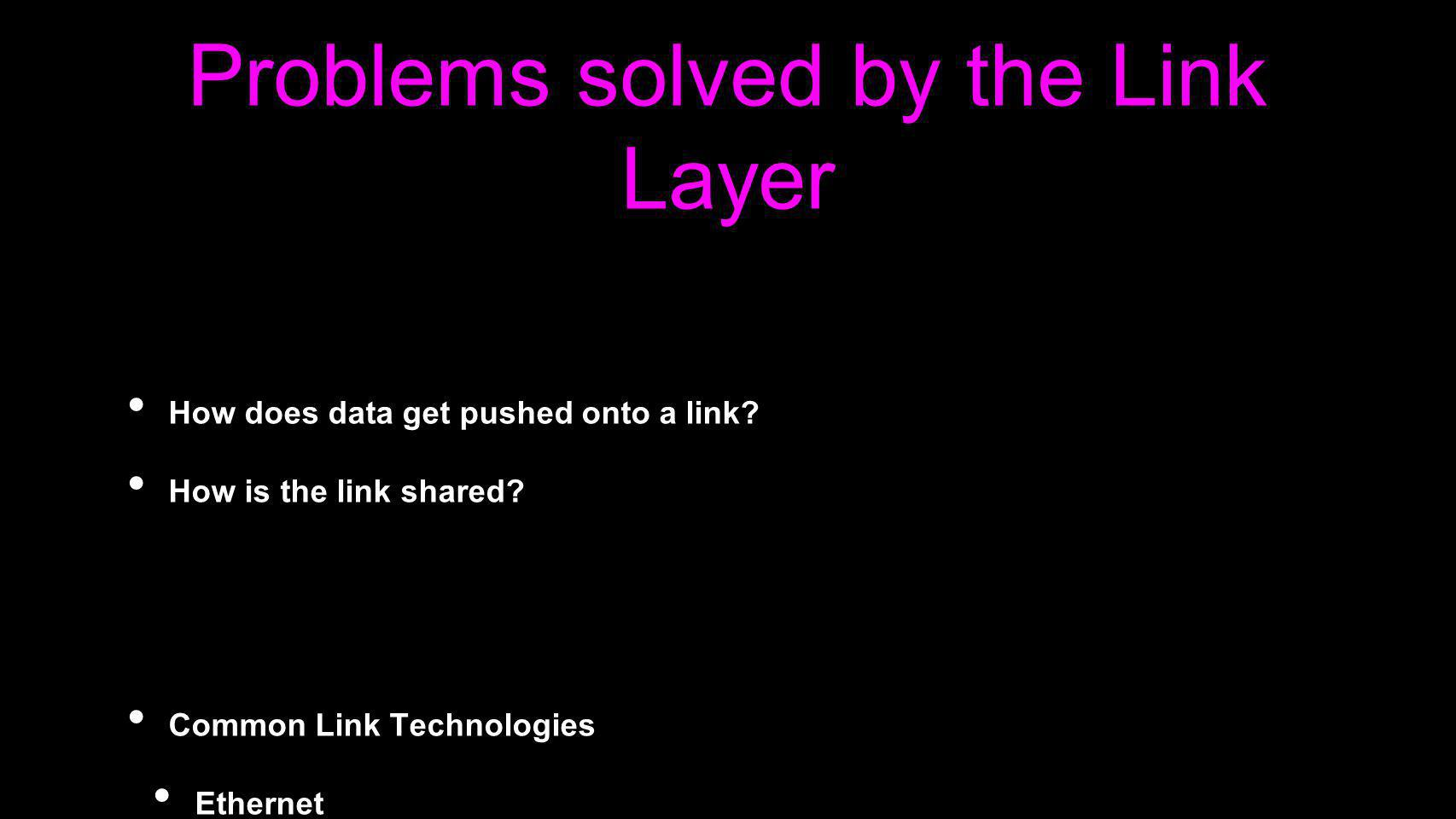Problems solved by the Link Layer