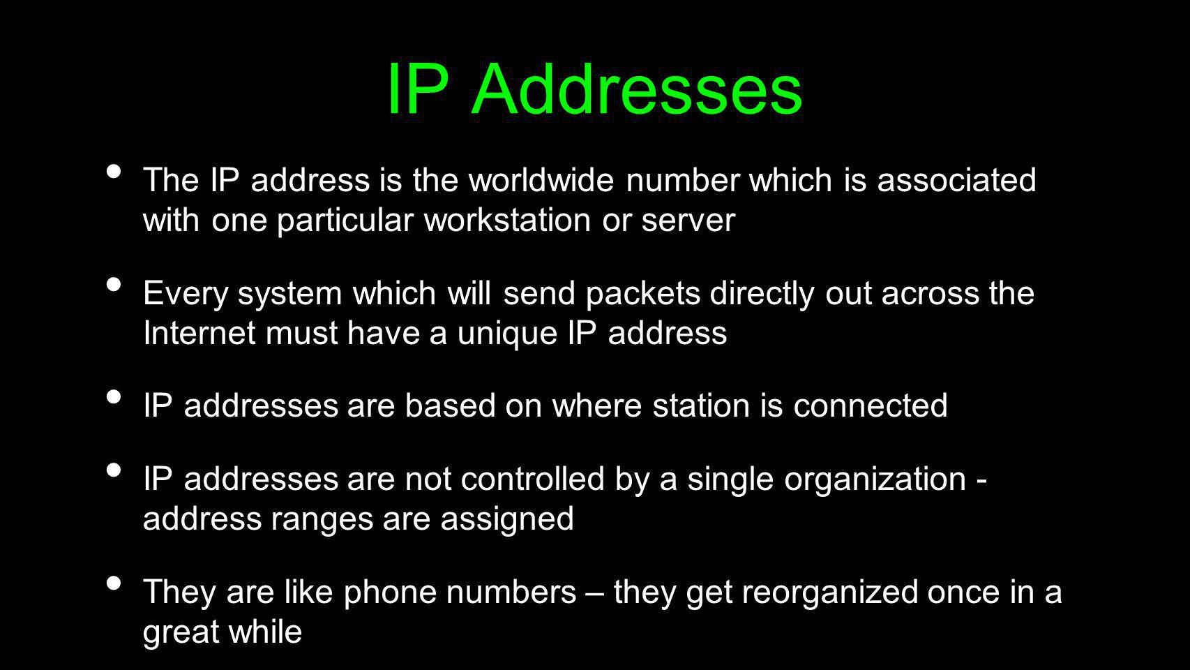 IP AddressesThe IP address is the worldwide number which is associated with one particular workstation or server.