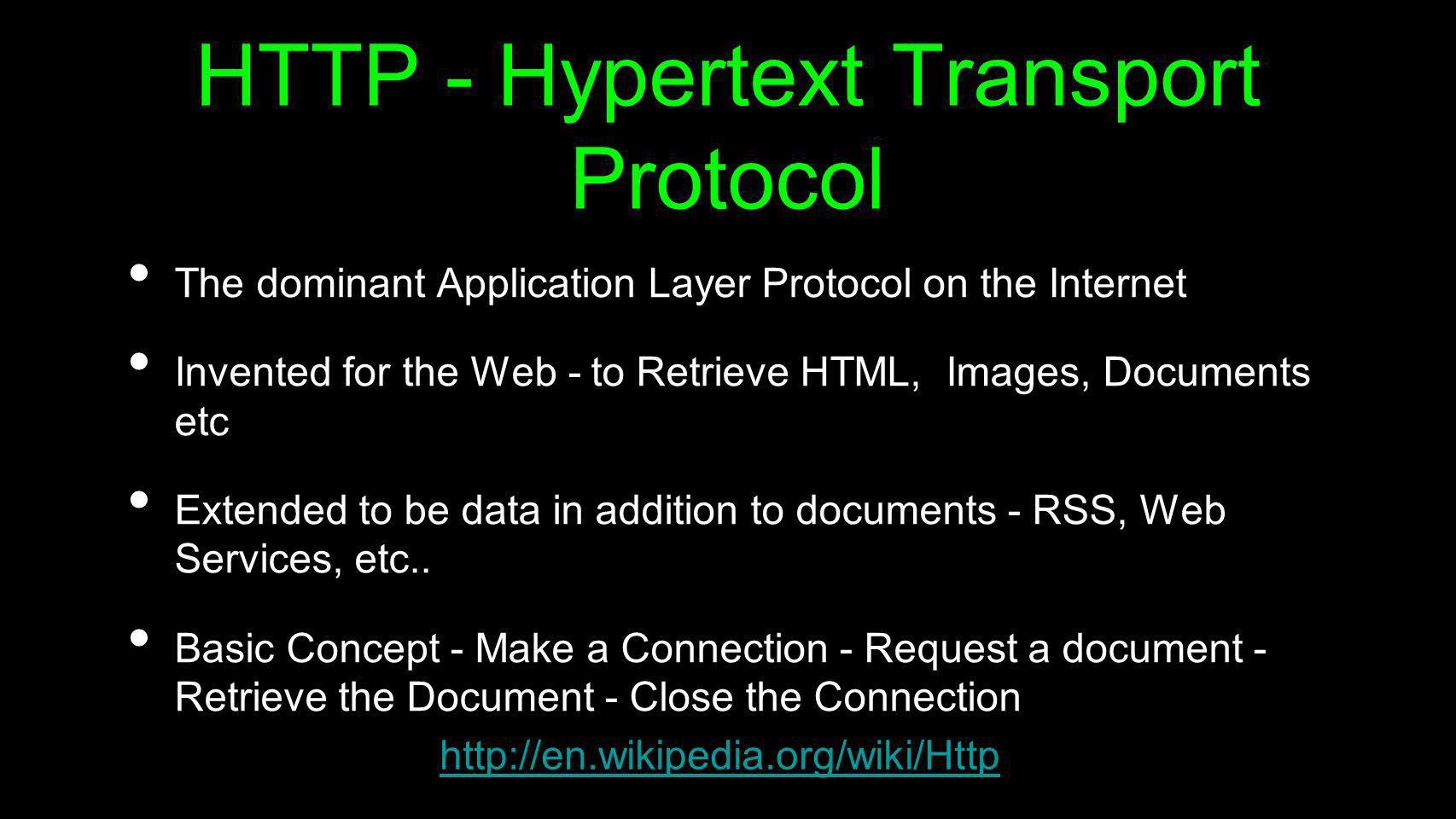 HTTP - Hypertext Transport Protocol