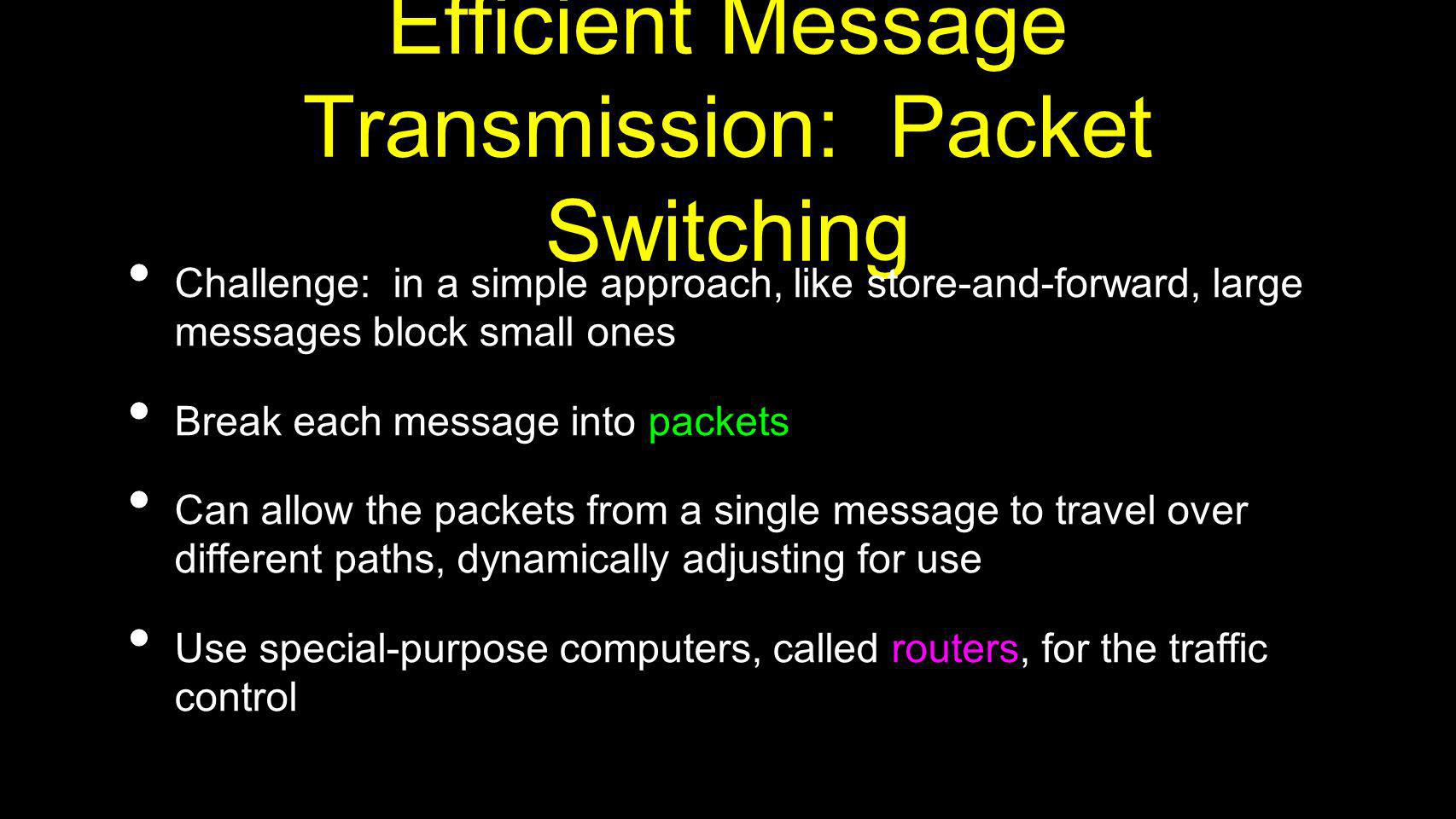 Efficient Message Transmission: Packet Switching