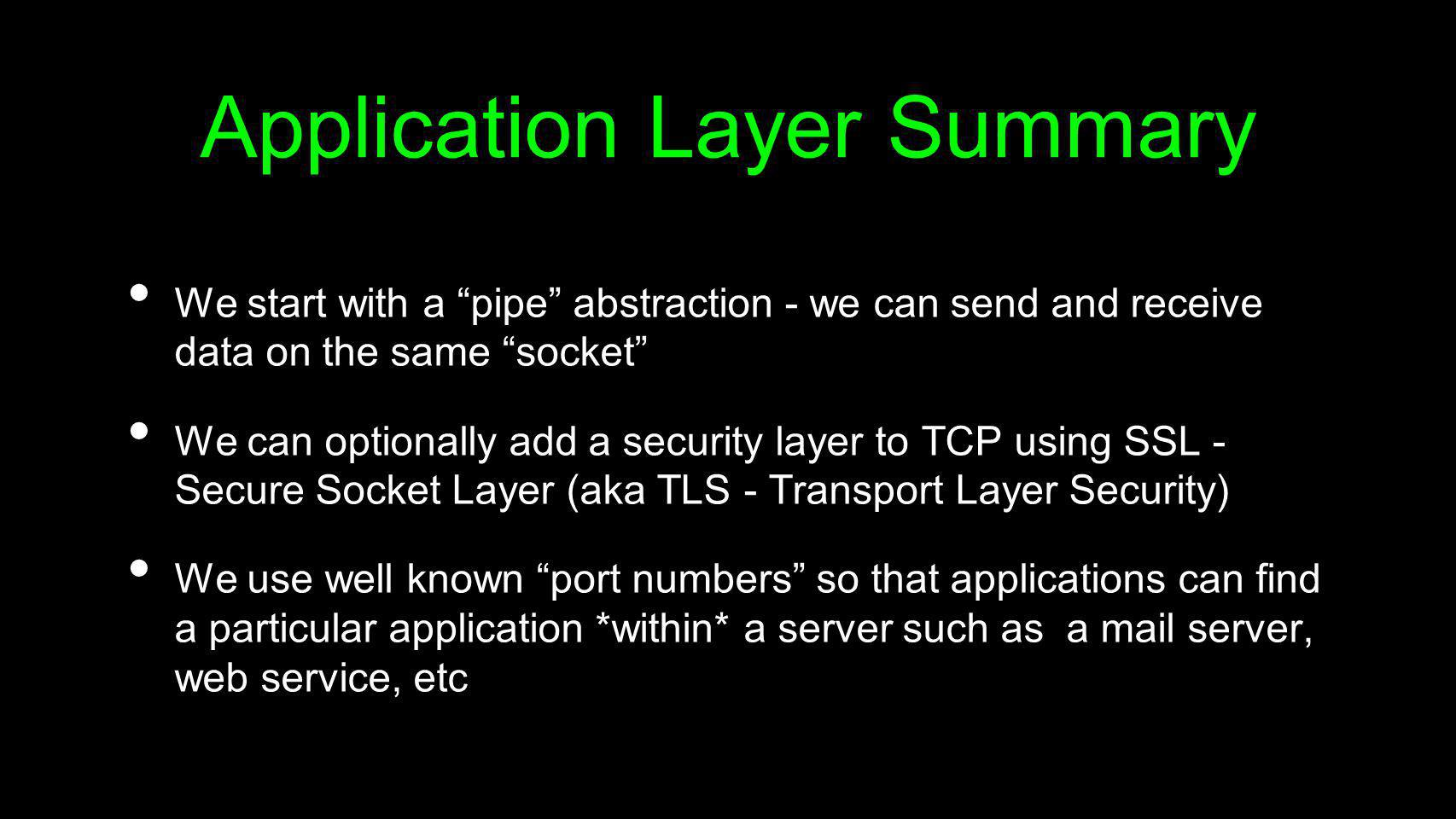 Application Layer Summary