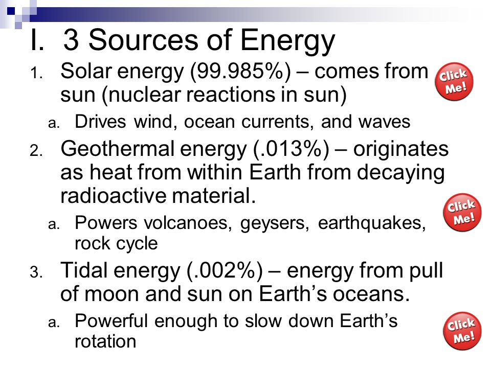I. 3 Sources of EnergySolar energy (99.985%) – comes from sun (nuclear reactions in sun) Drives wind, ocean currents, and waves.