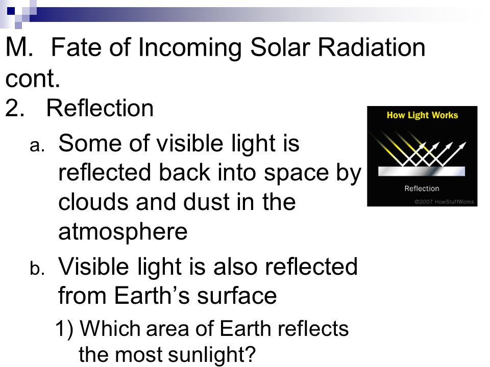 M. Fate of Incoming Solar Radiation cont.