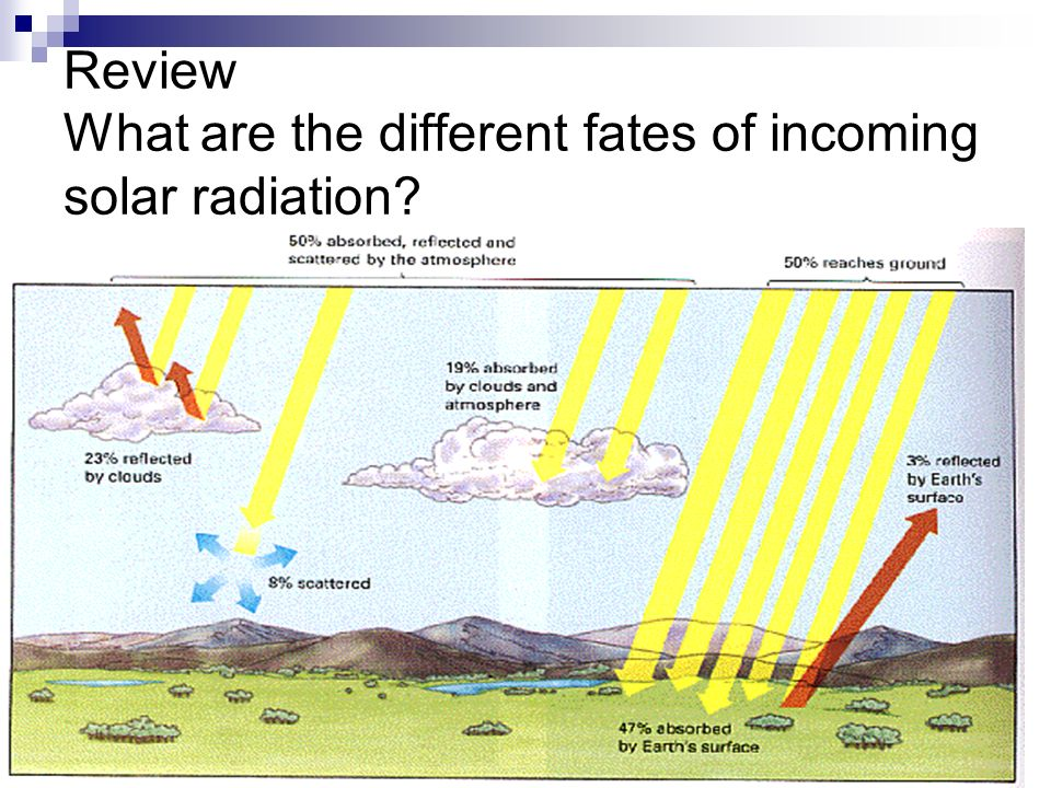 Review What are the different fates of incoming solar radiation
