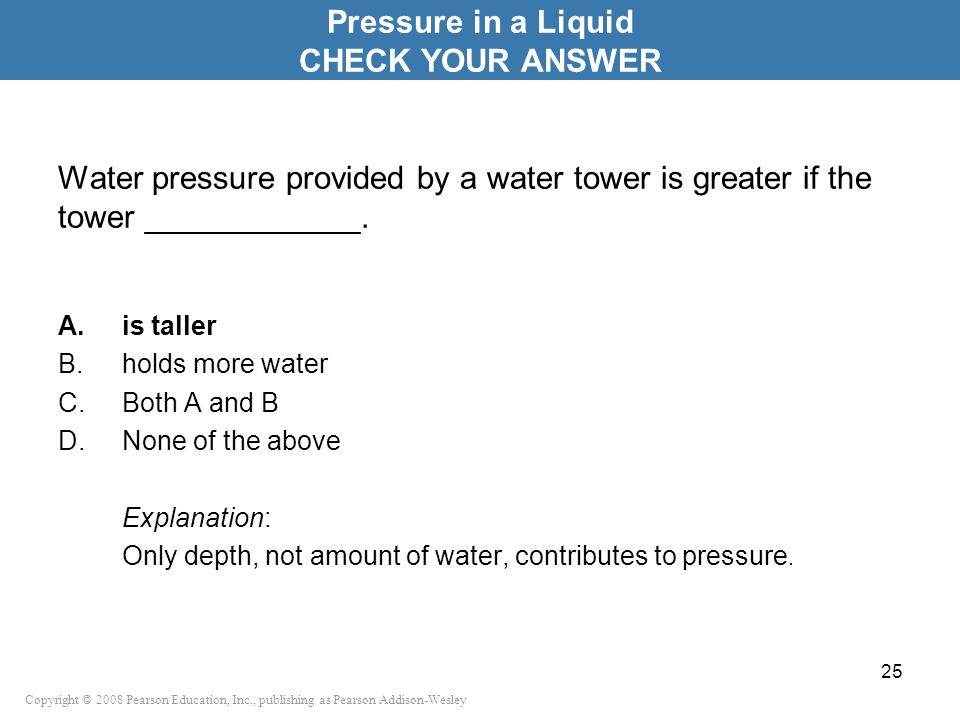 Pressure in a Liquid CHECK YOUR ANSWER