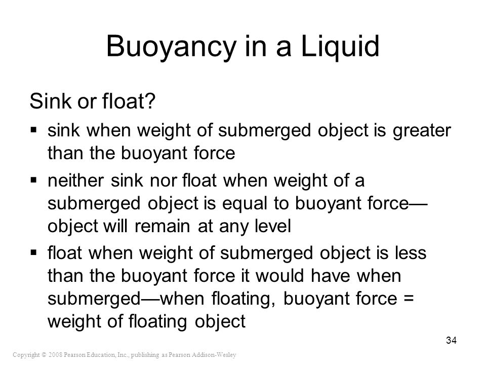 Buoyancy in a Liquid Sink or float