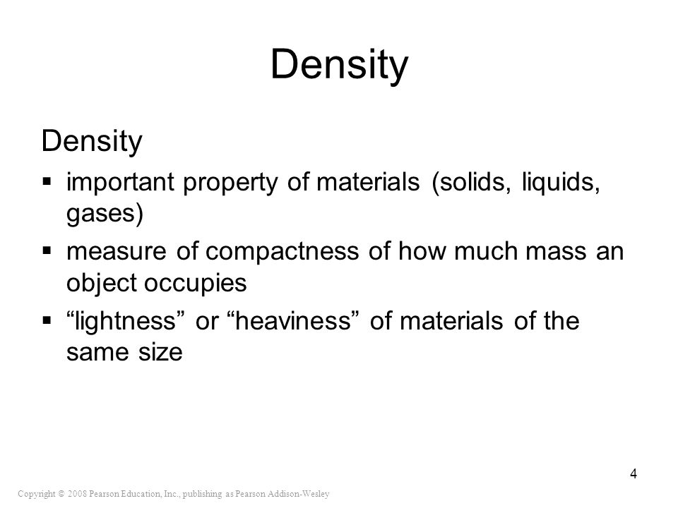 Density Density. important property of materials (solids, liquids, gases) measure of compactness of how much mass an object occupies.